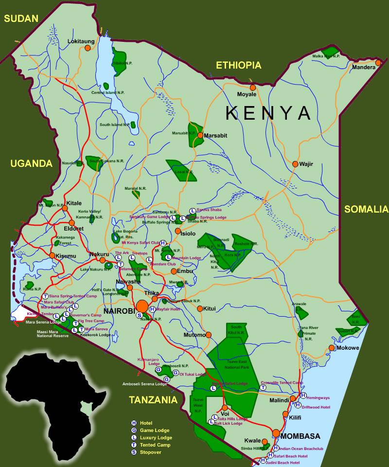 Landkarte Kenia